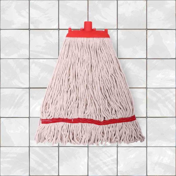 SpringMop Round Wet Mop Refill - Looped End, 350gms, Red Code.