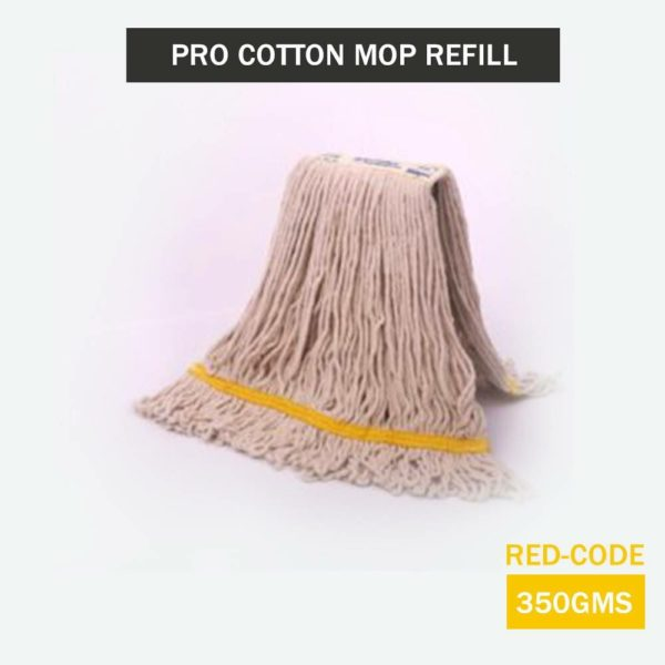 SpringMop Pro Cotton Mop Refills - 350gms, Looped End, Yellow Code