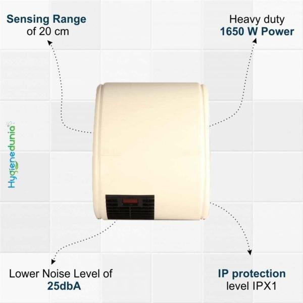 Low Noise Hand Machines Dryer 1650W by Hygienedunia