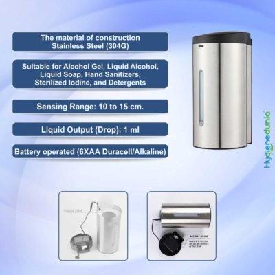Ossom Automatic Soap Dispenser SS 700ml Hygienedunia