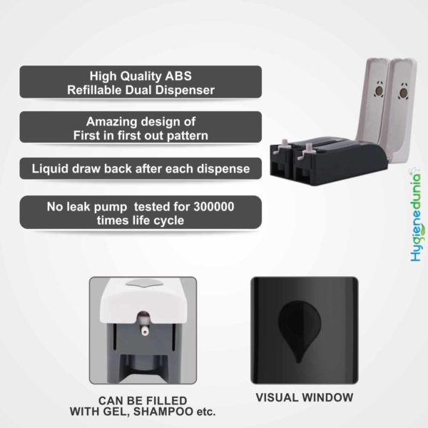 RICH Soap Dispenser 300 Duo Black Twin Wall Mounted Dispenser OSSOM®