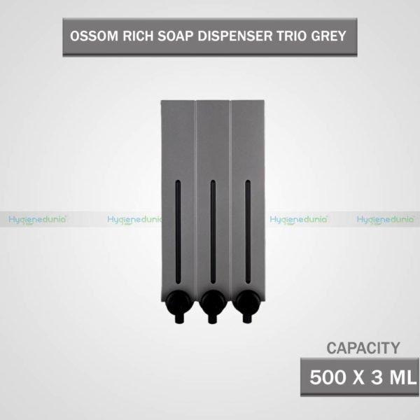RICH Soap Dispenser 500 Trio Grey Luxury Quality, Wall Mounted