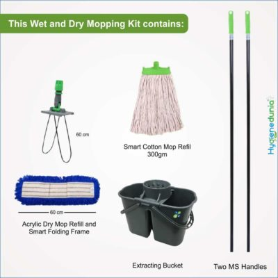 OSSOM® Home Expert Floor Cleaning Kit | Wet and Dry Mop Set with Extracting Bucket